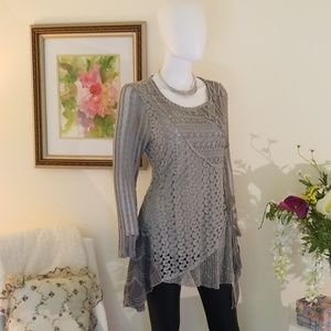 Feratelli Fully Lined Asymmetric Loose Knit Tunic